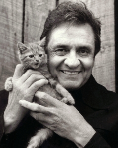Johnny Cash - with a jolly cat