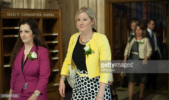 Tasmina Sheikh MP and Hannah Bardell (my MP) with their white roses - our tradition for the opening of parliament